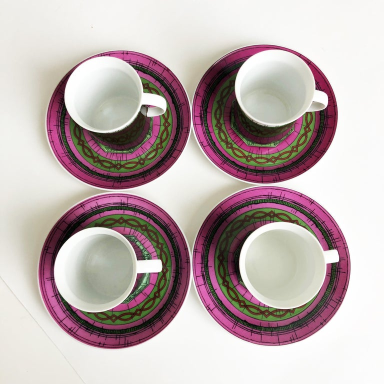 Emilio Pucci for Rosenthal 13pc Espresso Coffee Service Porcelain China 60s Rare In Good Condition For Sale In Port Saint Lucie, FL