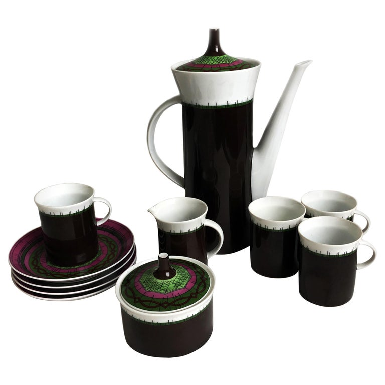 Emilio Pucci for Rosenthal 13pc Espresso Coffee Service Porcelain China 60s Rare For Sale