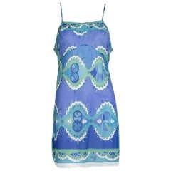 Emilio Pucci Formfit Rogers Blue Palette Negligée Slip Mini Dress - Small, 1960s