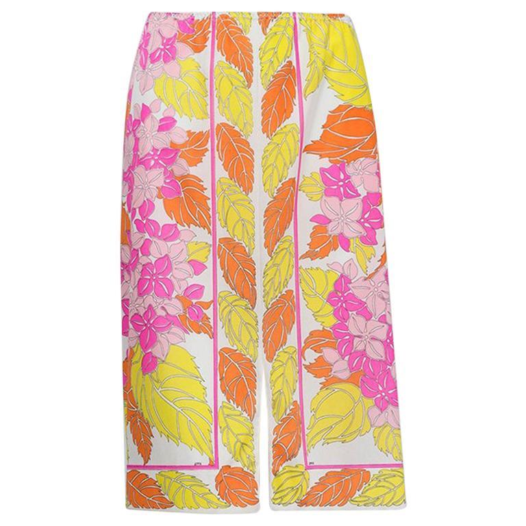 Emilio Pucci Formfit Rogers Orange Palette Floral Print Skirt Slip - M, 1960s