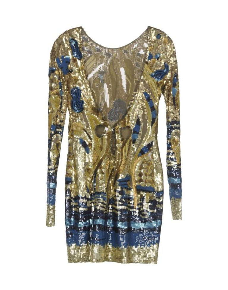 Emilio Pucci Gold Sequined Open-Back Dress  Most coveted dress ever!   Brand new, with tags!  Size 40 - US 4