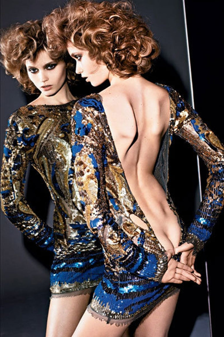 Emilio Pucci Gold Sequined Open-Back Dress In New Condition For Sale In Montgomery, TX