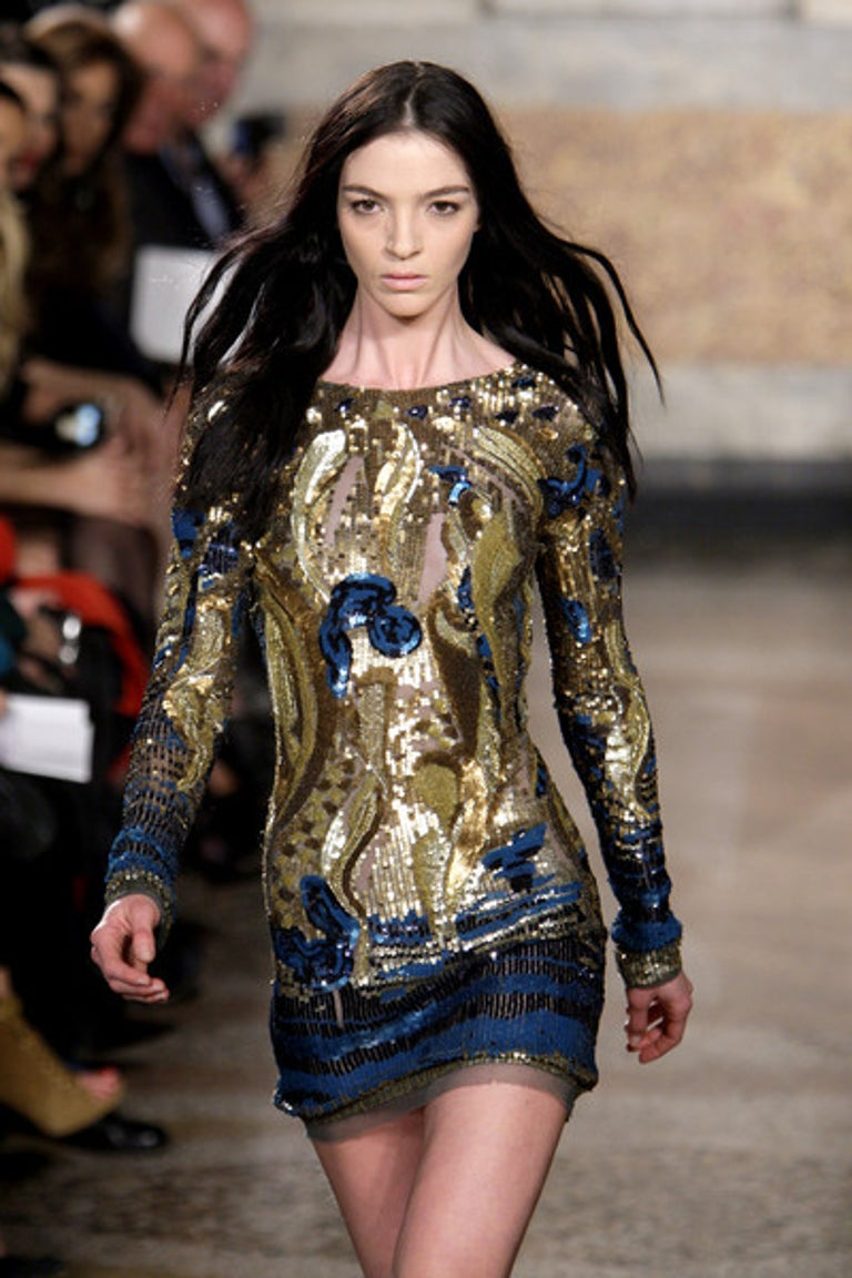 Emilio Pucci Gold Sequined Open-Back Dress For Sale 3