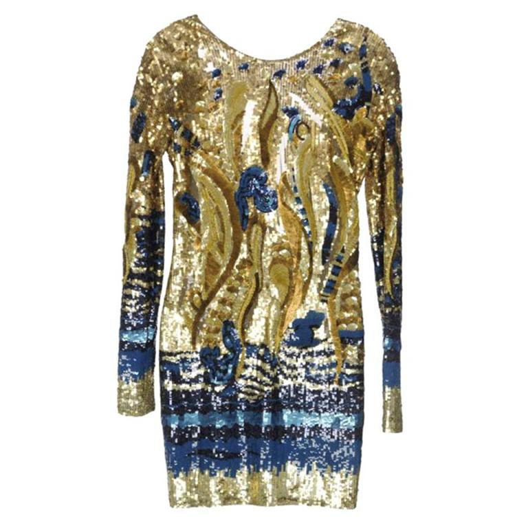 Emilio Pucci Gold Sequined Open-Back Dress For Sale