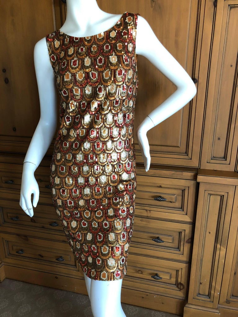 Black Emilio Pucci Golden Sleeveless Silk Sequin Peacock Print Cocktail Dress New Tags For Sale