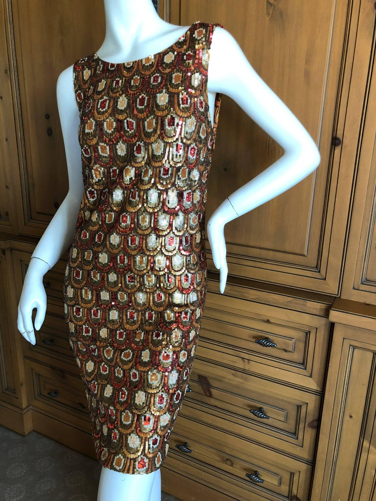 Emilio Pucci Golden Sleeveless Silk Sequin Peacock Print Cocktail Dress New Tags In Excellent Condition For Sale In San Francisco, CA