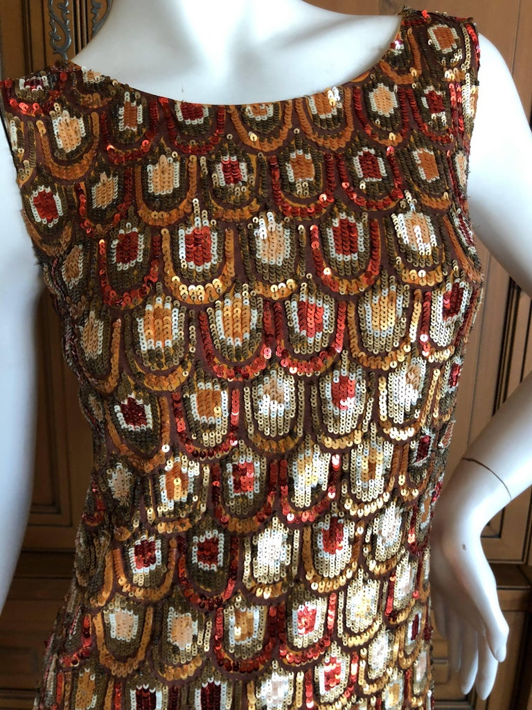 Emilio Pucci Golden Sleeveless Silk Sequin Peacock Print Cocktail Dress New Tags For Sale 2