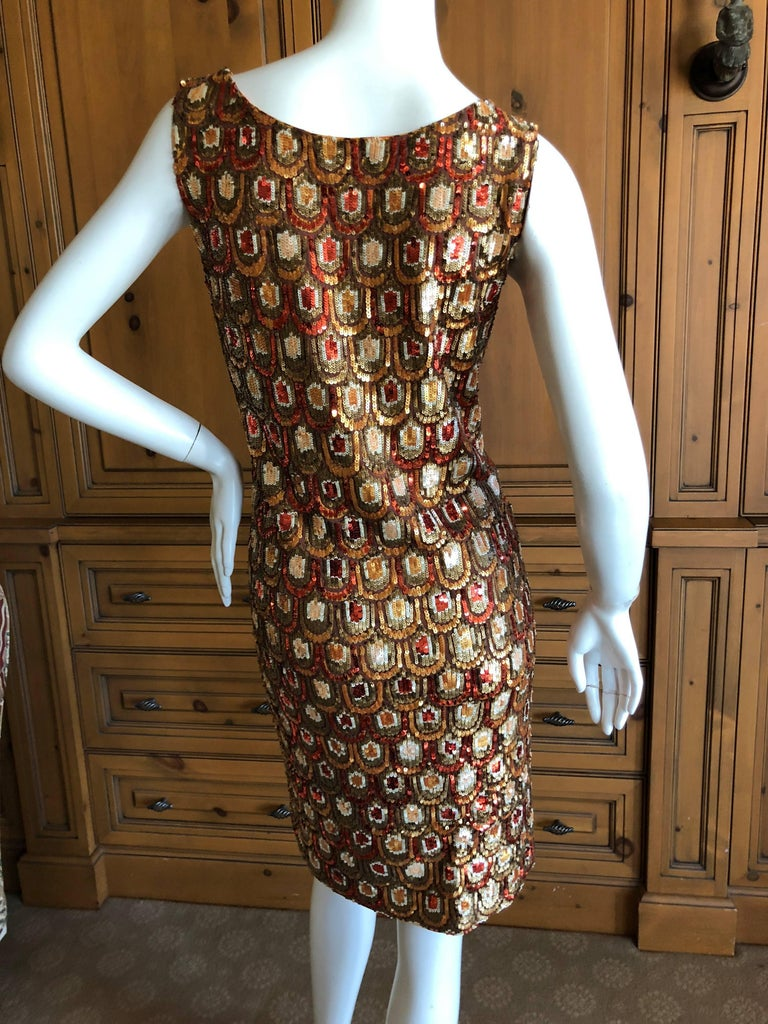 Emilio Pucci Golden Sleeveless Silk Sequin Peacock Print Cocktail Dress New Tags For Sale 3