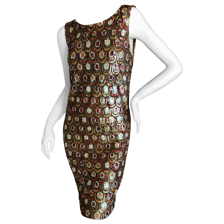 Emilio Pucci Golden Sleeveless Silk Sequin Peacock Print Cocktail Dress New Tags For Sale