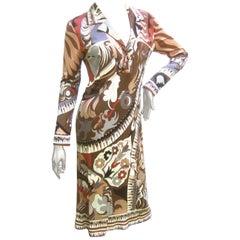 Emilio Pucci Graphic Silk Jersey Dress. 1970's.