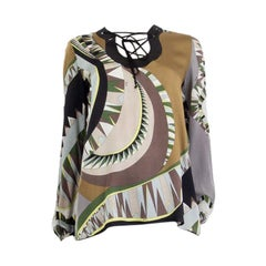 EMILIO PUCCI gray beige green silk PRINTED LACE UP Shirt Blouse 38 XS