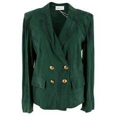 Emilio Pucci Green Double-Breasted Suede Blazer Jacket UK 10