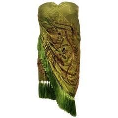 Emilio Pucci Green Kimono Embroidered Silk Strapless Mini Dress w/Fringe 40 EU