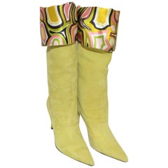 Emilio Pucci Green Suede Boots with Printed Lining 39.5