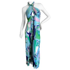 Emilio Pucci Halter Tie Back Dress or Swinsuit Cover with High Slit