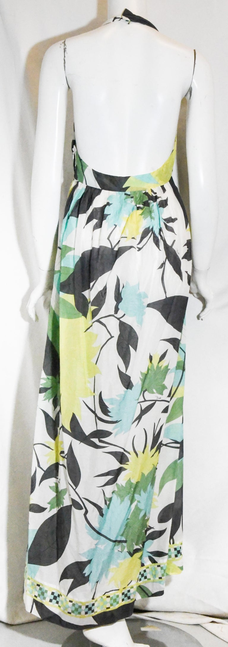 Emilio Pucci Halter V Neck Floral Print Backless Long Dress  In Excellent Condition For Sale In Palm Beach, FL