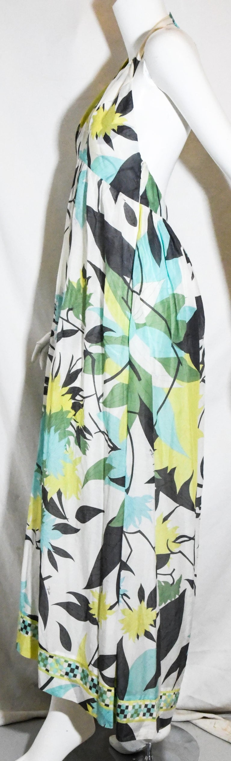 Women's Emilio Pucci Halter V Neck Floral Print Backless Long Dress  For Sale