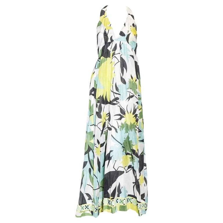 Emilio Pucci Halter V Neck Floral Print Backless Long Dress  For Sale