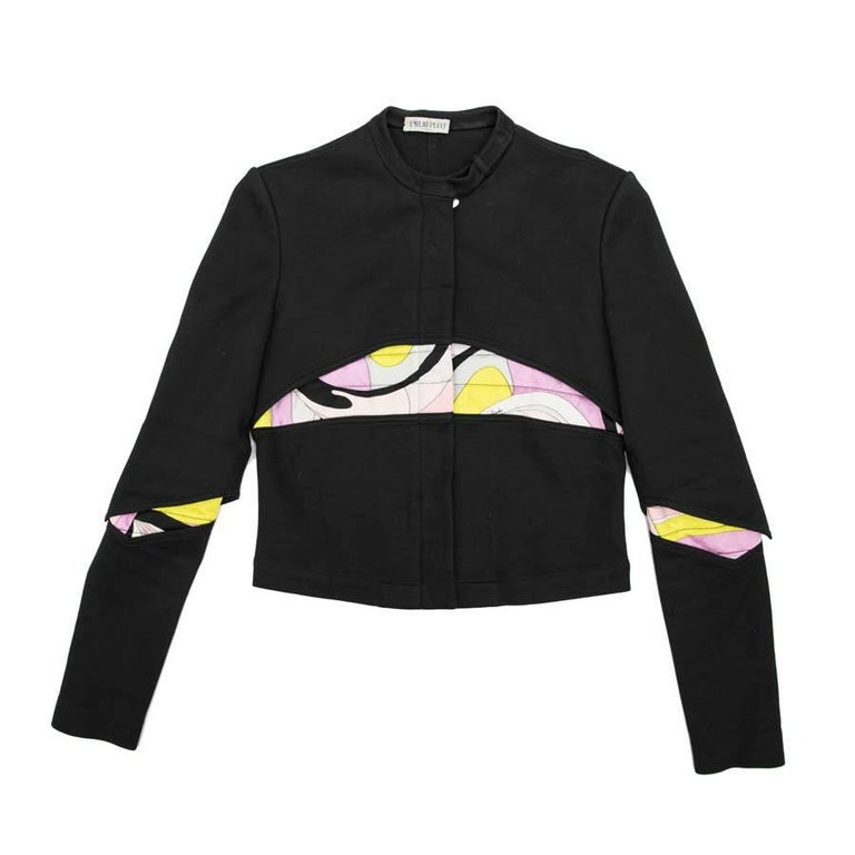 EMILIO PUCCI Jacket in Black Jersey with Printed Pattern Size 38