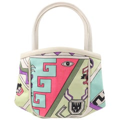 "EMILIO PUCCI Jana c.1960 ""Idolo"" Signature Print Silk & Leather Top Handle Purse"