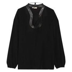 Emilio Pucci Lace-Up Leather-Trimmed Silk Crepe-De-Chine Top