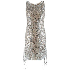 Emilio Pucci Lace-Up Metallic Sequin Embellished Mini Dress - Size S