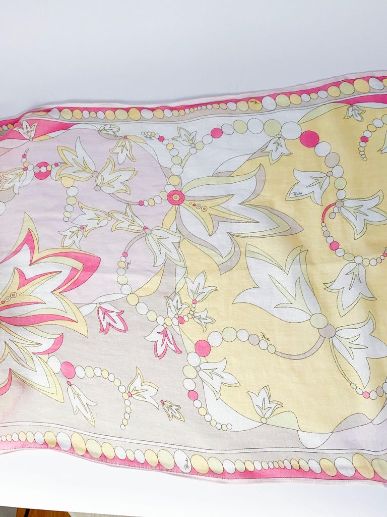 Emilio Pucci Linen Abstract Printed Scarf In Good Condition For Sale In San Francisco, CA
