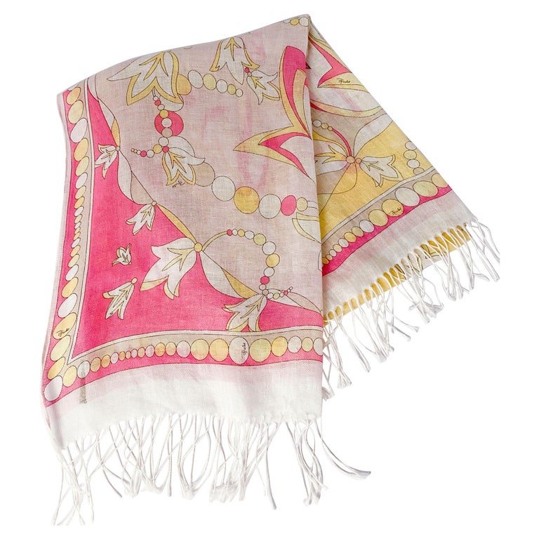 Emilio Pucci Linen Abstract Printed Scarf For Sale