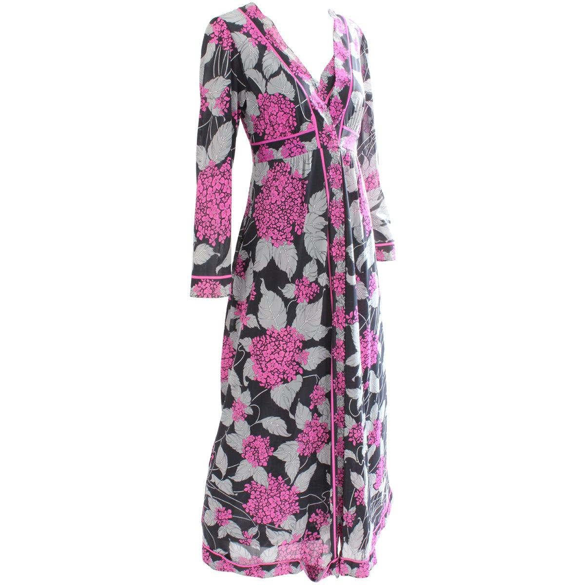 Emilio Pucci Long Nightgown & Matching Robe 2pc Set Abstract Floral Print S/M
