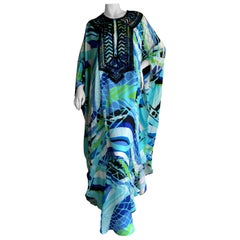 Emilio Pucci Long Silk Caftan Embellished In Glass Jet Bugle Beads