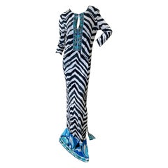 Emilio Pucci Low Cut Zebra Pattern Embellished Caftan Style Dress