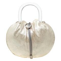 Emilio Pucci Metallic Light Beige Leather Top Handle Bag