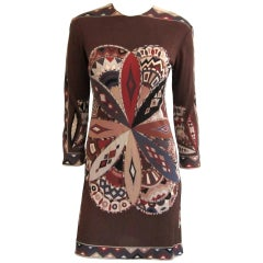 EMILIO Pucci MOD Brown Silk 1960s Vintage Dress XS-Small