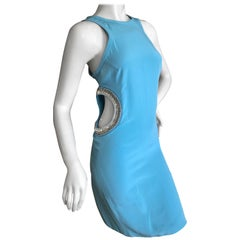Emilio Pucci Mod Sixties Style Turquoise Silk Mini Dress with Crystal Cut Outs