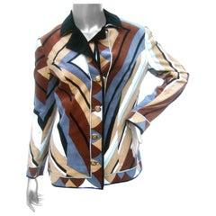 Emilio Pucci Mod Velvet Print Italian Jacket c. 1970