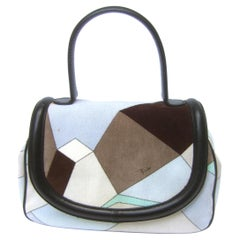 Emilio Pucci Mod Velvet Print Leather Trim Italian Handbag circa 21st c