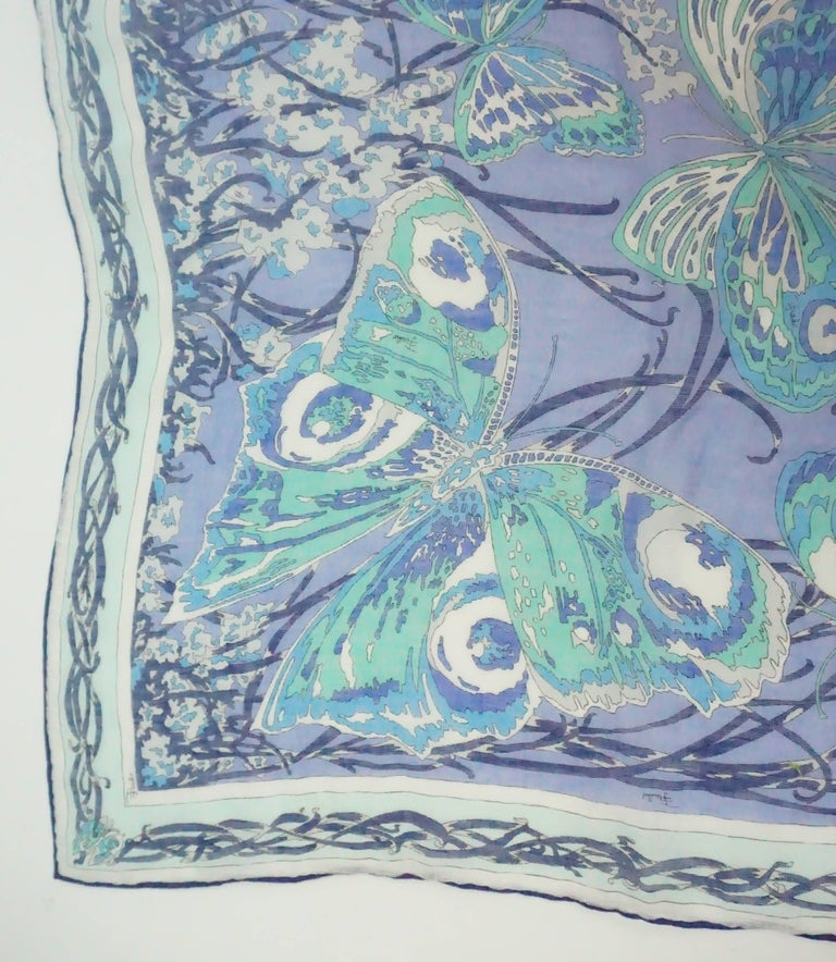 Emilio Pucci Multi Blue Print Cotton Shawl In Good Condition For Sale In Palm Beach, FL