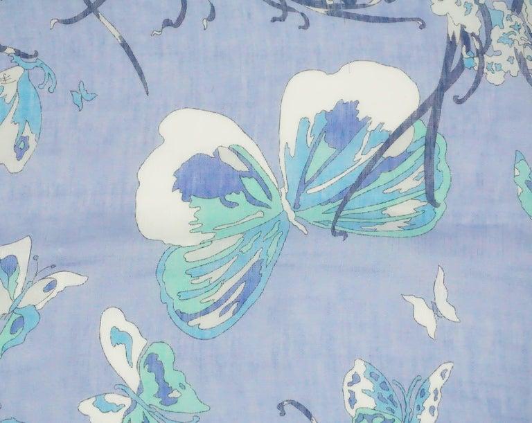 Women's or Men's Emilio Pucci Multi Blue Print Cotton Shawl For Sale