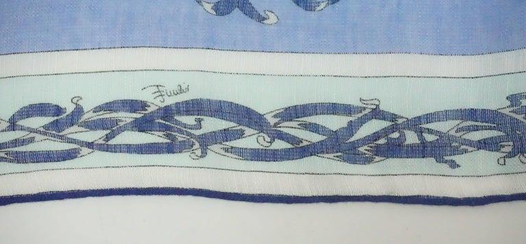 Emilio Pucci Multi Blue Print Cotton Shawl For Sale 2