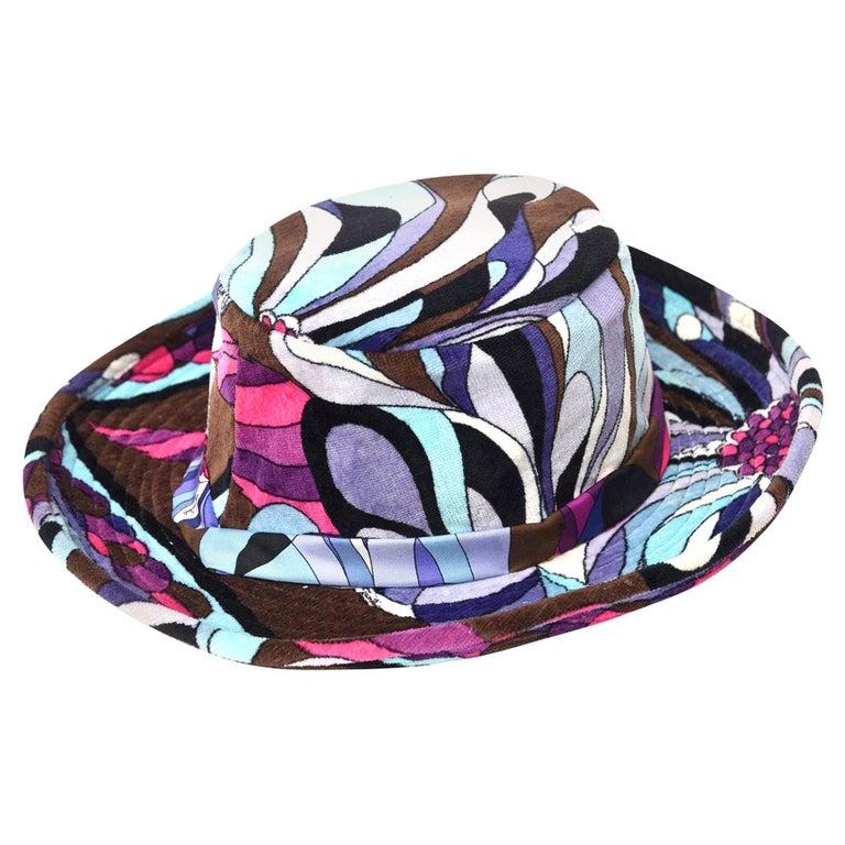 Emilio Pucci Multi Color Purple, Pink, Turquoise, Brown Velvet Hat Vintage For Sale