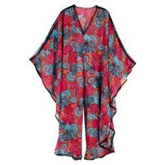 Emilio Pucci Multi-coloured Crochet Trim Kaftan Jumpsuit - Size US6
