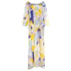 Emilio Pucci Multicolor Leaf Printed Cotton and Silk Dress L
