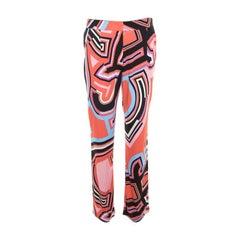 Emilio Pucci Multicolor Monogram Print Crepe Knit Trousers S