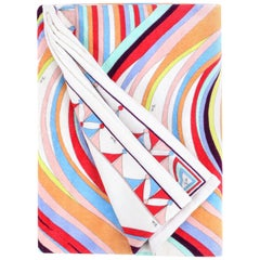 EMILIO PUCCI Multicolor Oversized Abstract Wave Signature Print Beach Pool Towel