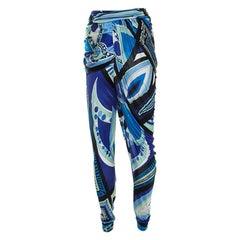 Emilio Pucci Multicolor Printed Jersey Draped Pants S