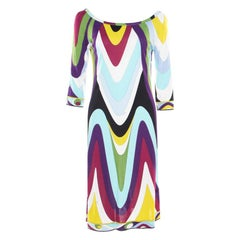 Emilio Pucci Multicolor Printed Jersey Long Sleeve Dress M