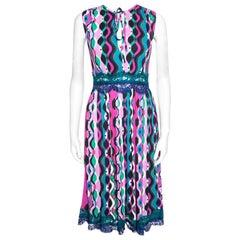 Emilio Pucci Multicolor Printed Scallop Lace Insert Sleeveless Midi Dress S
