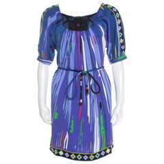 Emilio Pucci Multicolor Printed Silk Embellished Belted Shift Dress S