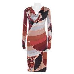 Emilio Pucci Multicolor Printed Silk Jersey Long Sleeve Dress M