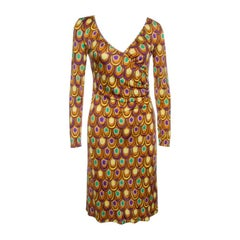 Emilio Pucci Multicolor Printed Silk Jersey Long Sleeve Dress S